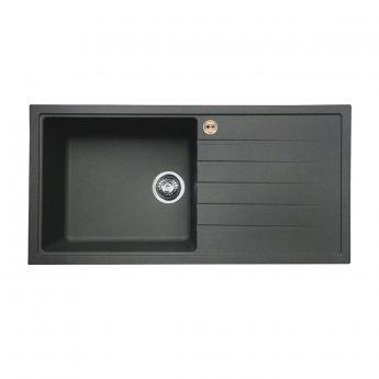 Bristan Gallery Quartz Easyfit 1.0 Bowl Kitchen Sink RH Drainer 1000mm L x 500mm W - Midnight Grey
