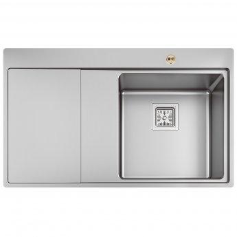 Bristan Ingot Easyfit 1.0 Bowl Kitchen Sink LH Drainer 860mm L x 520mm W - Stainless Steel