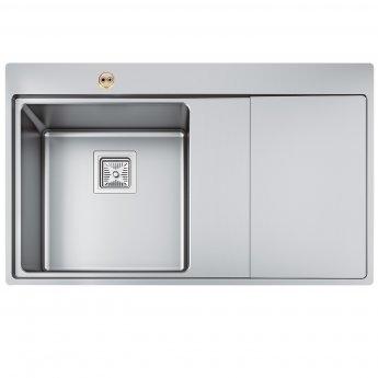 Bristan Ingot Easyfit 1.0 Bowl Kitchen Sink RH Drainer 860mm L x 520mm W - Stainless Steel