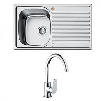 Bristan Inox Easyfit 1.0 Bowl Universal Kitchen Sink with Raspberry Tap 860mm L x 500mm W Stainless