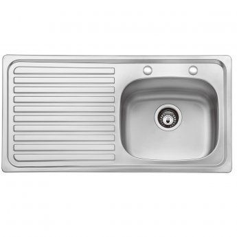 Bristan Inox 1.0 Bowl Kitchen Sink LH Drainer 2 Tap Hole 930mm L x 480mm W - Stainless Steel