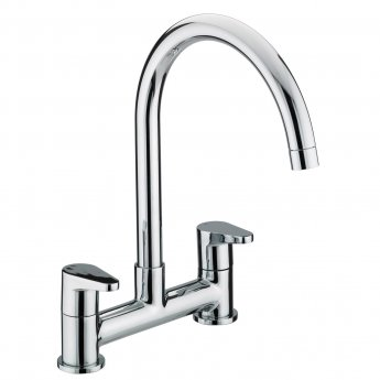 Bristan Quest Bridge Kitchen Sink Mixer Tap, Pillar Mounted, Chrome