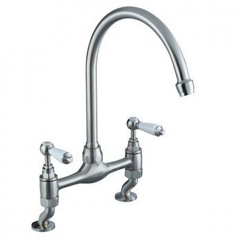 Bristan Renaissance Bridge Kitchen Sink Mixer Tap, Dual Handle, Brushed Nickel