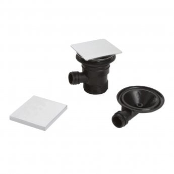 Bristan Square Bath Clicker Waste with Overflow Chrome - Slotted