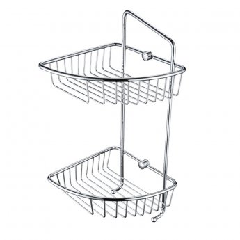 Bristan Two Tier Wall Fixed Wire Basket, Chrome