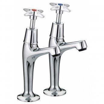 Bristan Value Crosshead High Neck Kitchen Sink Taps, Pair, Chrome