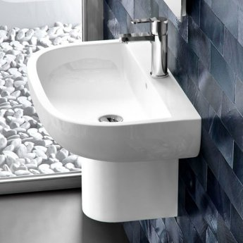 Britton Compact Basin with Semi Pedestal 450mm Wide - 1 Tap Hole