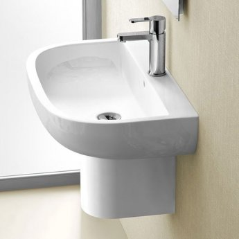 Britton Compact Basin with Semi Pedestal 550mm Wide - 1 Tap Hole