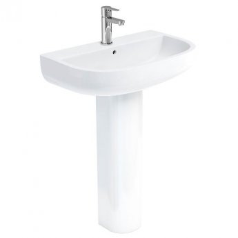 Britton Compact Basin with Full Pedestal 650mm Wide - 1 Tap Hole