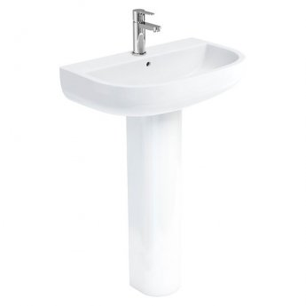 Britton Compact Basin with Round Raised Height Full Pedestal 650mm Wide - 1 Tap Hole