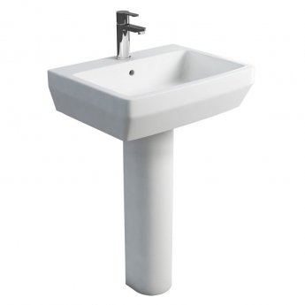 Britton Cube S20 Basin with Tall Round Pedestal 600mm Wide - 1 Tap Hole
