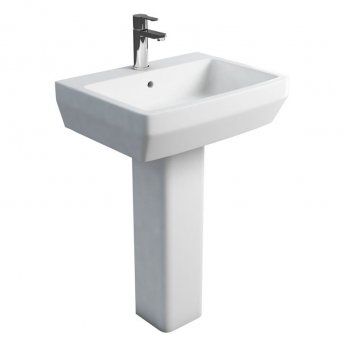 Britton Cube S20 Basin with Square Full Pedestal 600mm Wide - 1 Tap Hole