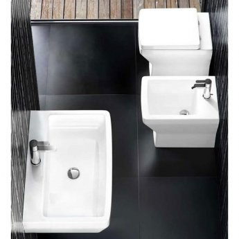 Britton Cube S20 Basin with Semi Pedestal 600mm Wide - 1 Tap Hole