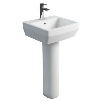 Britton Cube S20 Basin with Full Pedestal 500mm Wide - 1 Tap Hole