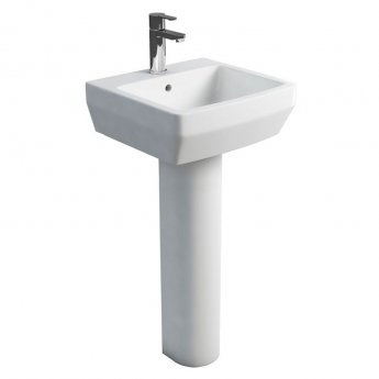 Britton Cube S20 Basin with Tall Round Pedestal 500mm Wide - 1 Tap Hole