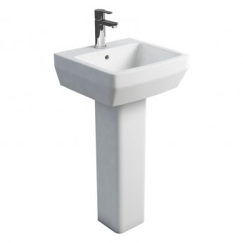 Britton Cube S20 Basin with Square Full Pedestal 500mm Wide - 1 Tap Hole