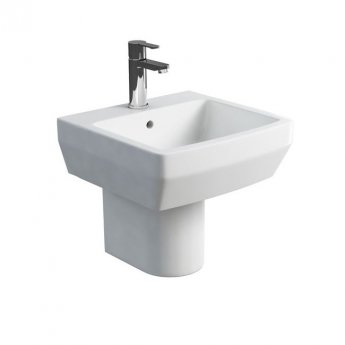 Britton Cube S20 Basin with Semi Pedestal 500mm Wide - 1 Tap Hole