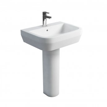Britton Curve S30 Basin with Tall Round Pedestal 600mm Wide - 1 Tap Hole
