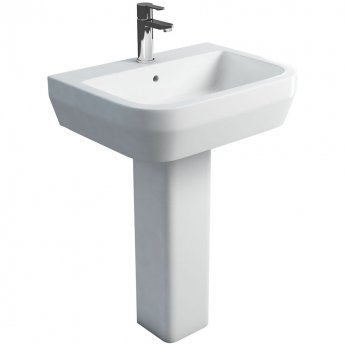 Britton Curve S30 Basin with Square Full Pedestal 600mm Wide - 1 Tap Hole