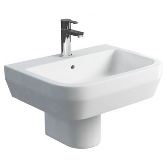 Britton Curve S30 Basin with Semi Pedestal 600mm Wide - 1 Tap Hole