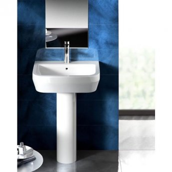 Britton Curve S30 Basin with Full Pedestal 500mm Wide - 1 Tap Hole