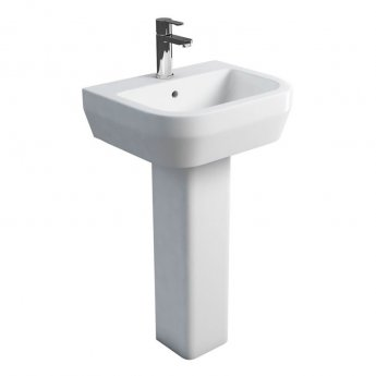 Britton Curve S30 Basin with Square Full Pedestal 500mm Wide - 1 Tap Hole