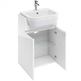 Britton D30 Floor Standing 2-Door Semi Countertop Vanity Unit 600mm Wide - White