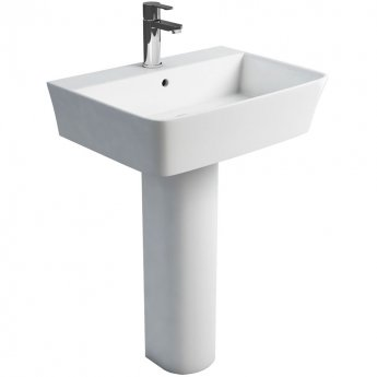 Britton Fine Basin with Full Pedestal 600mm Wide - 1 Tap Hole