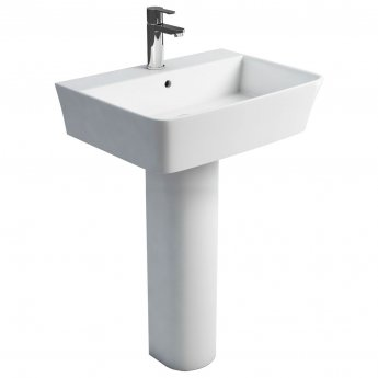 Britton Fine Basin with Tall Round Pedestal 600mm Wide - 1 Tap Hole