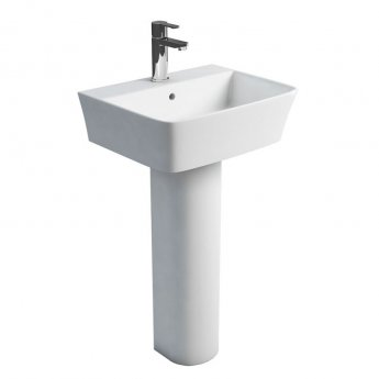 Britton Fine Basin with Full Pedestal 500mm Wide - 1 Tap Hole