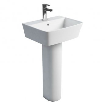 Britton Fine Basin with Tall Round Pedestal 500mm Wide - 1 Tap Hole