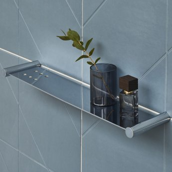 Britton Hoxton Wall Mounted Bathroom Shelf - Chrome