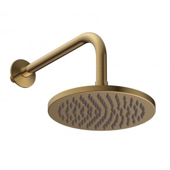 Britton Hoxton Fixed Shower Head with Wall Mounted Arm 200mm Diameter - Brushed Brass