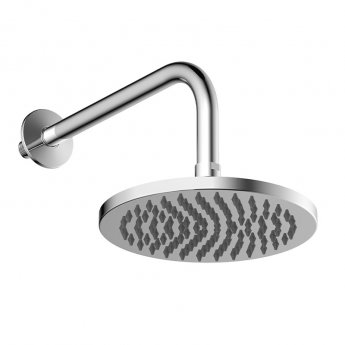 Britton Hoxton Fixed Shower  Head with Wall Mounted Arm 200mm Diameter - Chrome