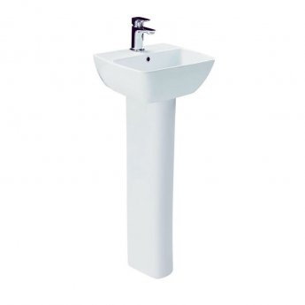 Britton My Home Basin with Full Pedestal 400mm Wide - 1 Tap Hole