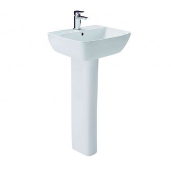 Britton My Home Basin with Full Pedestal 550mm Wide - 1 Tap Hole
