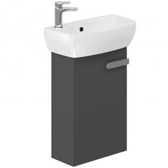 Britton My Home Wall Hung 1-Door Vanity Unit for Short Projection Basin - Grey