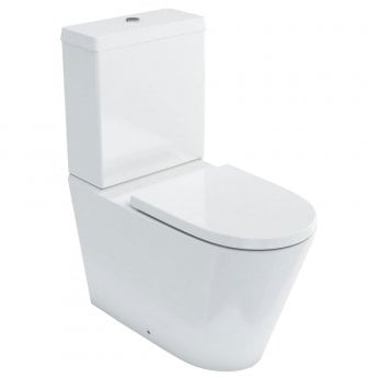 Britton Sphere Rimless Back to Wall Close Coupled Toilet with Cistern - Soft Close Seat