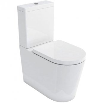 Britton Sphere Tall Back to Wall Close Coupled Toilet with Cistern and Seat - Soft Close Seat
