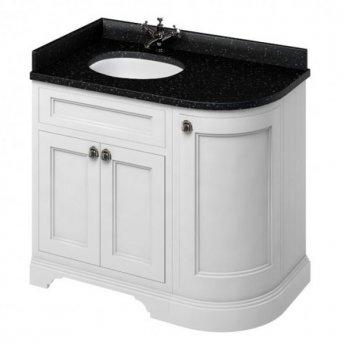 Burlington 100 Curved LH 3-Door Vanity Unit and Black Granite Basin 1000mm 0 Tap Hole - Matt White