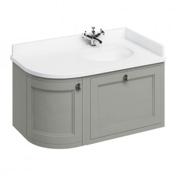 Burlington 100 Curved RH Wall Hung Vanity Unit and White Basin 1000mm Wide Olive - 0 Tap Hole