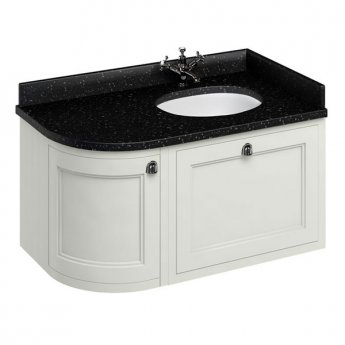 Burlington 100 Curved RH Wall Hung Vanity Unit and Black Granite Basin 1000mm Sand - 0 Tap Hole