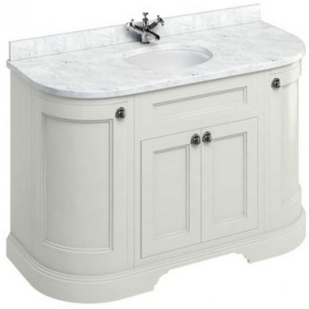 Burlington 134 Curved 4-Door Vanity Unit and Carrara White Basin 1300mm Wide Sand - 0 Tap Hole