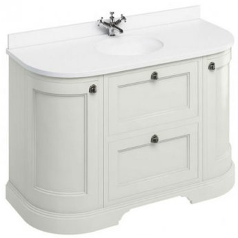 Burlington 134 Curved 2-Door Vanity Unit and White Basin 1300mm Wide Sand - 0 Tap Hole