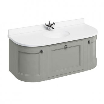 Burlington 134 Curved Wall Hung Vanity Unit and White Basin 1300mm Wide Olive - 0 Tap Hole