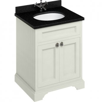 Burlington 65 2-Door Vanity Unit and Black Granite Basin 650mm Wide Sand - 0 Tap Hole