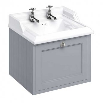 Burlington 65 Wall Hung Vanity Unit and Classic Basin 650mm Wide Classic Grey - 2 Tap Hole