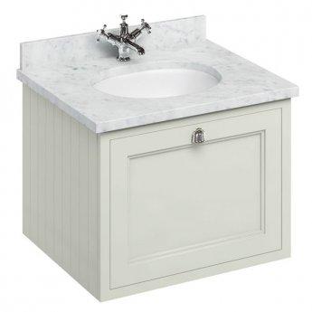 Burlington 65 Wall Hung Vanity Unit and Carrara White Basin 650mm Wide Sand - 0 Tap Hole