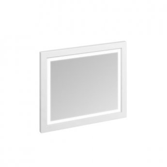 Burlington 90 Fitted Framed LED Bathroom Mirror, 750mm High x 900mm Wide, Matt White
