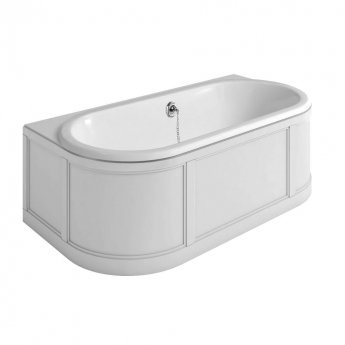 Burlington Complete Bathroom Suite, 1800mm x 950mm Back to Wall Bath, Matt White